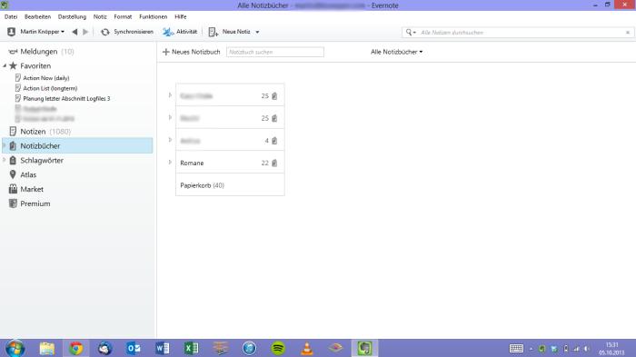 Benutzeroberfläche von Evernote 5 für Windows.