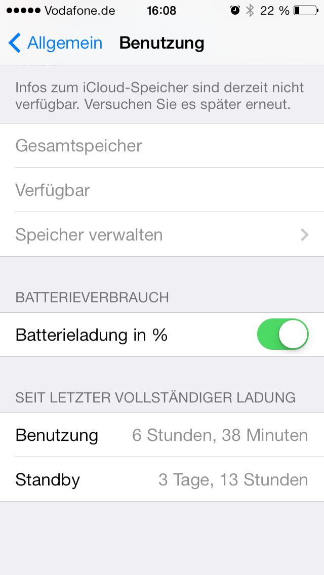 iPhone 5S - 3 Tage und 13 Stunden ohne externem Saft, davon über 6 1/2 Stunden genutzt und noch 22% Restladung - need I say more?