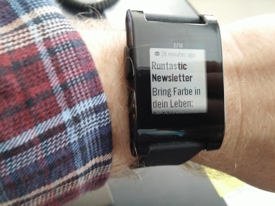 Pebble zeigt jetzt auch unter Android E-Mails an.